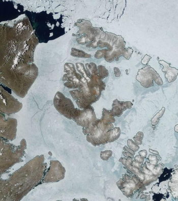 Figure 4a. Sea ice in the Canadian Archipelago on July 3, 2017. The blue hues indicate areas of widespread melt ponds on the surface of the ice. ||Credit: RESEARCHER'S NAME/ORGANIZATION *or * National Snow and Ice Data Center| High-resolution image