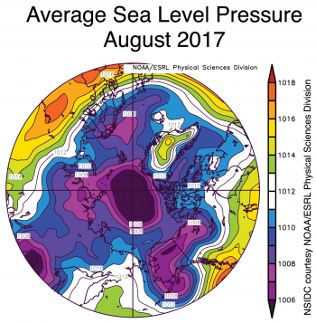 Figure 2b. This image shows average sea level pressure over the Arctic for the month of August 2017.