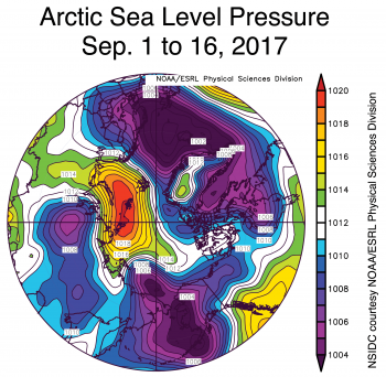 Figure 2b. This image shows average sea level pressure over the Arctic Ocean for the period of September 1 to 16, 2017.