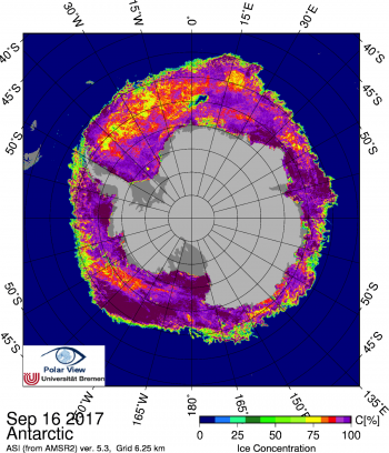 Figure 4b: This map shows Antarctic sea ice concentration on September 16, 2017. Note the Maud Rise polynya at the top of the image. Data are from the Advanced Microwave Scannig Radiometer 2 (AMSR2).