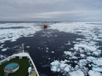 Figure 4c. This photo shows sea ice conditions along the route of the Crystal Serenity.||Credit: C. Haas|High-resolution image