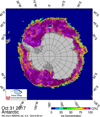 Figure 5b. This map shows Antarctic sea ice concentration on October 31, 2017. Note the Maud Rise polynya at the top of the image. Data are from the Advanced Microwave Scannig Radiometer 2 (AMSR2)||Credit: Institute of Environmental Physics, University of Bremen|High-resolution image