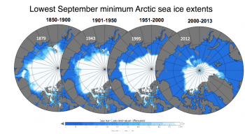 Figure 5b. These sea ice concentration maps compare the lowest September minimum Arctic sea ice extents for the periods 1850 to 1900, 1901 to 1950, 1951 to 2000, and 2000 to 2013.||Credit: F. Fetterer/National Snow and Ice Data Center, NOAA
