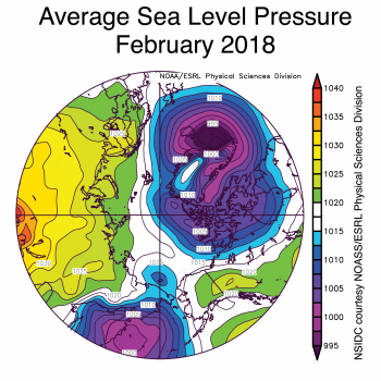 Figure 2b. This plot shows the average sea level pressures at the 925 hPa level for February 2018. Yellows and reds indicate higher than average air pressures; blues and purples indicate lower than average air pressures.
