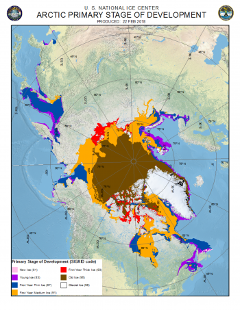 Figure 4. This figure shows the distribution of Arctic sea ice according to stage of development, , as of February 22, 2018. Pink shows new ice; purple shows young ice; blue shows first year thin ice; orange shows first year medium ice, red shows first year thick ice, brown shows old ice, and while shows glacial ice.