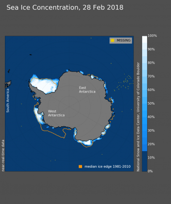 Figure 6b. This figure shows Antarctic sea ice extent for February 28, 2018. Sea Ice Index data. About the data||Credit: National Snow and Ice Data Center|High-resolution image