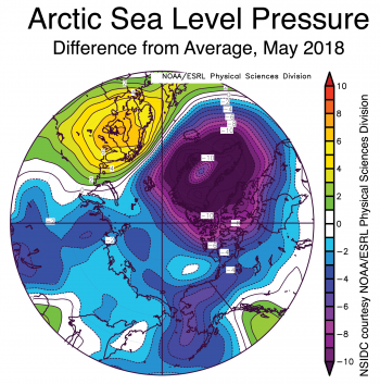 Figure 2b. This plot shows departure from average sea level pressure in the Arctic, in millibars, for May 2018. Yellows and reds indicate higher than average sea level pressure; blues and purples indicate lower than average sea level pressure. ||Credit: NSIDC courtesy NOAA Earth System Research Laboratory Physical Sciences Division