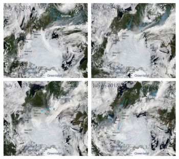Figure 3. These images from the NASA Moderate Resolution Imaging Spectroradiometer (MODIS) sensor show the Arctic Ocean and surrounding land from July 3 to 6, 2018. Blue arrows indicate smoke that had drifted from fires in Siberia. ||Credit: NASA| High-resolution image