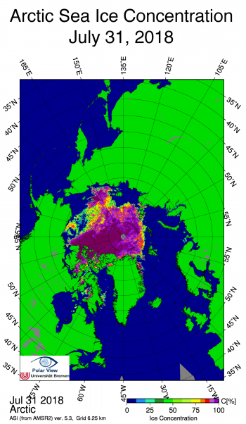 Figure 4b. This image shows sea ice concentration in the Arctic, based on data from the Japan Aerospace Exploration Agency (JAXA) Advanced Microwave Scanning Radiometer 2 (AMSR2).