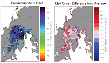 Figure 5. These maps show preliminary melt onset (left) and melt onset anomaly (right) in the Arctic relative to the 1981 to 2010 average. White areas are open ocean or areas with no melt detected.