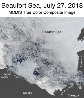Figure 4a. This shows a true color composite image of the Beaufort Sea in the Arctic, taken by the Moderate Resolution Imaging Spectroradiometer (MODIS) sensor on the NASA Terra satellite.