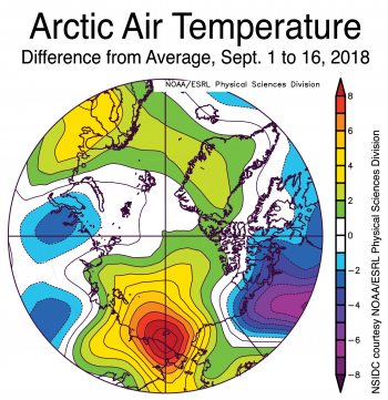 Figure 2b. This plot shows the departure from average air temperature in the Arctic at the 925 hPa level, in degrees Celsius, for September 1 to 16, 2018. Yellows and reds indicate higher than average temperatures; blues and purples indicate lower than average temperatures.