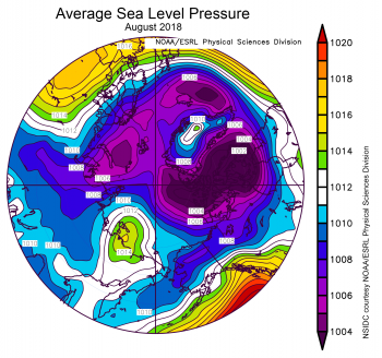 This plot shows average sea level pressure in the Arctic, in millibars, for August 1 to 14, 2018. Yellows and reds indicate higher than average sea level pressure; blues and purples indicate lower than average sea level pressure. Credit: NSIDC courtesy NOAA Earth System Research Laboratory Physical Sciences Division High-resolution image