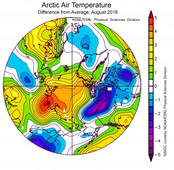 This plot shows departure from average air temperature in the Arctic at the 925 hPa level, in degrees Celsius, for August 1 to 14, 2018. Yellows and reds indicate higher than average temperature; blues and purples indicate lower than average temperature. Credit: NSIDC courtesy NOAA Earth System Research Laboratory Physical Sciences Division High-resolution image