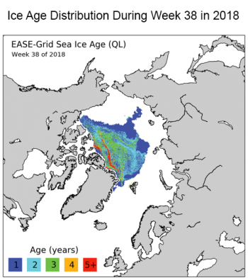 Figure 5a. (a) Sea ice age during Week X and Week Y, showing the origin of patch of ice in the Beaufort Sea and the last remnant.||Credit: M. Tschudi, S. Stewart, University of Colorado, Boulder, and W. Meier, J. Stroeve, NSIDC