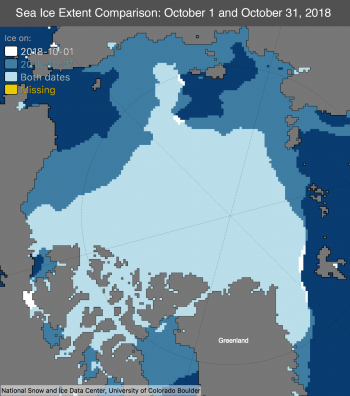 Figure 1b. This maps shows the difference between sea ice extent on October 1 and October 31, 2018.