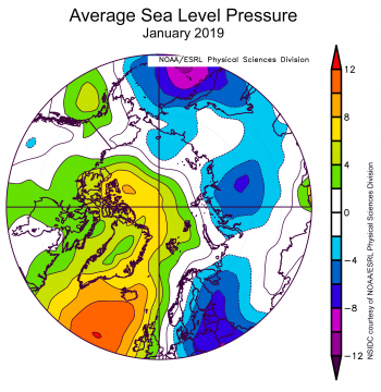 Figure 2X. This plot shows the departure from average sea level pressure in the Arctic at the 925 hPa level, in degrees Celsius, for XXXmonthXX 20XX. Yellows and reds indicate higher than average air pressures; blues and purples indicate lower than average air pressures.||Credit: NSIDC courtesy NOAA Earth System Research Laboratory Physical Sciences Division| High-resolution image