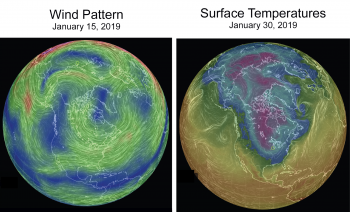 At left, upper atmosphere winds (70 millibars, about 60,000 feet altitude) on 15 January 2019. North America is in the center of this view. Right, surface air temperatures on 30 January, 2019. For reference, Chicago was -26 C (-15°F) on this morning (dark blue color)