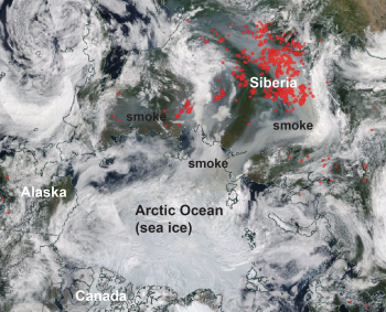 Figure 3. This NASA Worldview MODIS mosaic image from August 10, 2019, shows the locations of wildfires in the Arctic as detected by thermal images (not shown). Red areas indicate wildfires. Huge areas of burning forests in Siberia have filled the air with smoke over much of the Pacific side of the Arctic Ocean.||Credit: NASA Worldview| High-resolution image