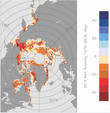 Figure 4. Melt onset for 2019 expressed as differences (in days) with respect to 1981 to 2010 averages based on the passive microwave satellite data record. ||Credit: Data courtesy of Jeff Miller at NASA GSFC. | High-resolution image