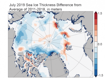 Figure 4b. This map shows Arctic sea ice thickness difference from average, relative to 2011 to 2018, from PIOMAS. ||Credit: Axel Schwieger/University of Washington| High-resolution image