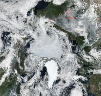 Figure 6a. MODIS image from July 24, 2019. Red dots show locations of fires. ||Credit: National Snow and Ice Data Center| High-resolution image
