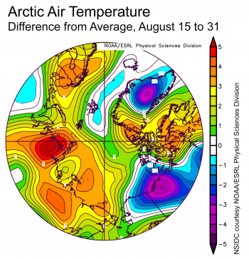 Figure 2X. This plot shows the departure from average air temperature in the Arctic at the 925 hPa level, in degrees Celsius, for XXXmonthXX 20XX. Yellows and reds indicate higher than average temperatures; blues and purples indicate lower than average temperatures.||Credit: NSIDC courtesy NOAA Earth System Research Laboratory Physical Sciences Division| High-resolution image