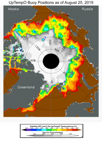 Figure 4b. Sea surface temperature (from NOAA dOISST) and ice concentration (NSIDC Sea Ice Index) for 25 August 2019. The locations of 3 UpTempO drifting buoys are marked as 1, 2 and 7. Data from UptempO drifting buoy locations is available for downloading here.