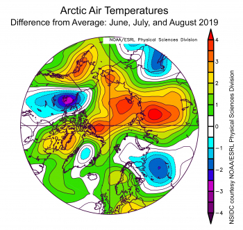 Arctic summer temperature anomaly map