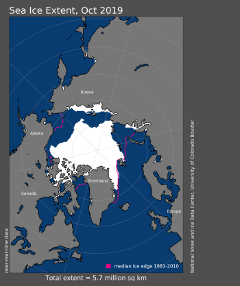 Figure 1. Arctic sea ice extent for XXXX 20XX was X.XX million square kilometers (X.XX million square miles). The magenta line shows the 1981 to 2010 average extent for that month. Sea Ice Index data. About the data||Credit: National Snow and Ice Data Center|High-resolution image