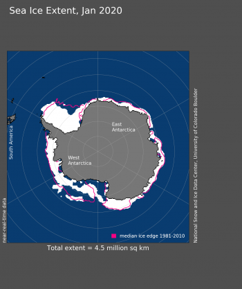 Figure 4. Antarctic sea ice extent for XXXX 20XX was X.XX million square kilometers (X.XX million square miles). The magenta line shows the 1981 to 2010 average extent for that month. Sea Ice Index data. About the data||Credit: National Snow and Ice Data Center|High-resolution image