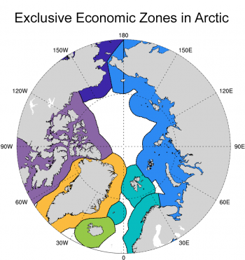 Figure 5. . Map of exclusive economic zones (EEZs) within the Arctic: Canada (purple), Greenland (orange), Iceland (green), Norway (turquoise), Russia (light blue), and USA (dark blue). As sea ice reduces there will be less opportunity for ice to drift from one EEZ to another, which has implications for the potential spread of pollutants. Image from DeRepentigny et al. (2020) courtesy American Geophysical Union (CC BY-NC-ND 4.0).