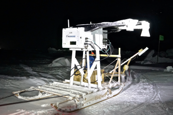 Figure 6b. The radiometer instrument is strapped to its tow-sled to measure snow depth. || Credit: J. Stroeve, NSIDC | High-resolution image