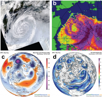 Figure 4. This figure shows four images that depict an Arctic cyclone from July 27 to 30, 2020. Image a in the upper left-hand corner is a NASA Moderate Resolution Imaging Spectroradiometer (MODIS) composite image that shows the cyclone in Beaufort Sea region on July 29. Image b in the upper right-hand corner shows a NASA Advanced Microwave Scanning Radiometer 2 (AMSR-2) sea ice concentration map for July 29 that shows the same area as in a. Image c in the lower left-hand corner shows the surface pressure from Climate Reanalyzer for July 29. Image d in the lower right-hand corner shows the wind speed for July 29 from Climate Reanalyzer.||Credit: National Snow and Ice Data Center| High-resolution image