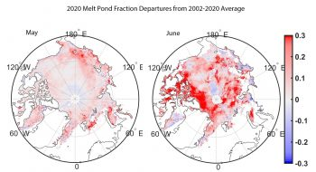 Figure 5b. This figure shows melt pond fractional area anomalies for May (left) and June (right). Red colors show more extensive melt ponds relative to the 2002 to 2020 average, whereas blue colors show less melt ponds than average. ||Credit: Markus et. al., 2009| High-resolution image