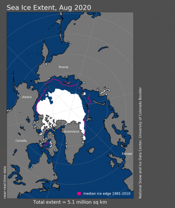 Montly extent for August 2020