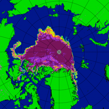Figure 1c. This figure shows the Japanese Aerospace Exploration Agency (JAXA) Advanced Microwave Scanning Radiometer 2 (AMSR2) sea ice concentration for Arctic sea ice on September 12, 2020.   Credit: University of Bremen High-resolution image