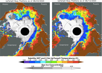 Sea surface temperatures (SST) in the Arctic Ocean