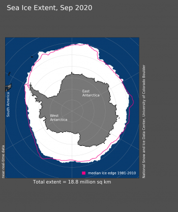 Antarctic sea ice extent map for September 2020