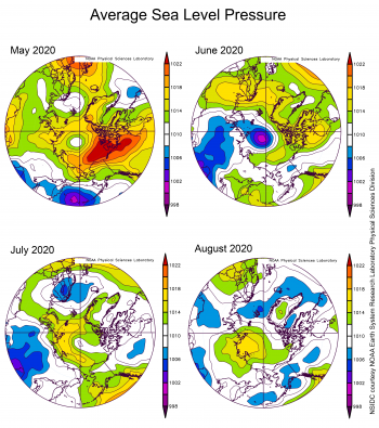 Average sea level pressure for April, May, June, and July 2020
