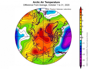 Figure 2b. This plot shows the departure from average air temperature in the Arctic at the 925 hPa level, in degrees Celsius, for October 2020. Yellows and reds indicate higher than average temperatures; blues and purples indicate lower than average temperatures.||Credit: NSIDC courtesy NOAA Earth System Research Laboratory Physical Sciences Division| High-resolution image