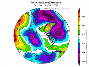 Figure 2c. This plot shows average sea level pressure in the Arctic in millibars (hPa) for October 2020. Yellows and reds indicate high air pressure; blues and purples indicate low pressure.||Credit: NSIDC courtesy NOAA Earth System Research Laboratory Physical Sciences Division| High-resolution image