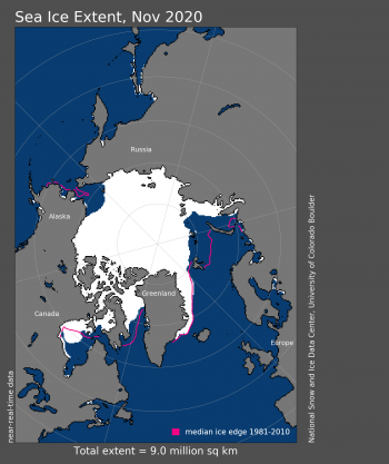 sea ice extent for Nov 2020
