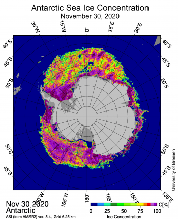 Sea ice concentration around Antarctica on Nov 30 2020