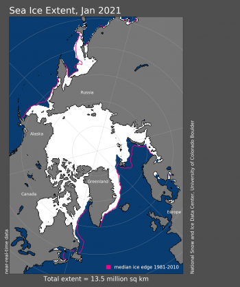 Arctic sea ice extent Jan 2021