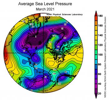 Average sea level pressure March 2021, Arctic