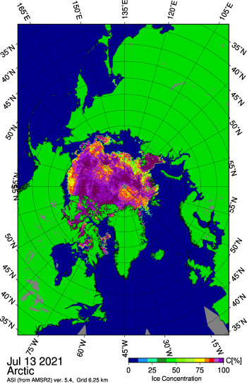 Figure 1b. This map shows Arctic sea ice concentration based on data from the Advanced Microwave Scanning Radiometer 2 (AMSR2) data. ||Credit: University of Bremen|High-resolution image