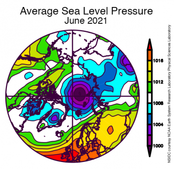 This plot shows average sea level pressure in the Arctic in millibars for June 2021.