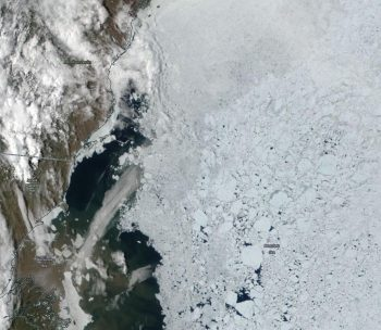 Figure 4b. This true-color composite image taken by the NASA Moderate Resolution Imaging Spectroradiometer (MODIS) sensor shows sea ice off the coast of Alaska in the Beaufort Sea. ||Credit: NASA Worldview|High-resolution image