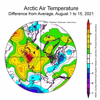 Figure 2X. This plot shows the departure from average sea level pressure in the Arctic at the 925 hPa level, in degrees Celsius, for XXXmonthXX 20XX. Yellows and reds indicate higher than average air pressures; blues and purples indicate lower than average air pressures.||Credit: NSIDC courtesy NOAA Earth System Research Laboratory Physical Sciences Laboratory| High-resolution image